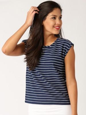 Dressberry Casual Short Sleeve Striped Women's Dark Blue Top