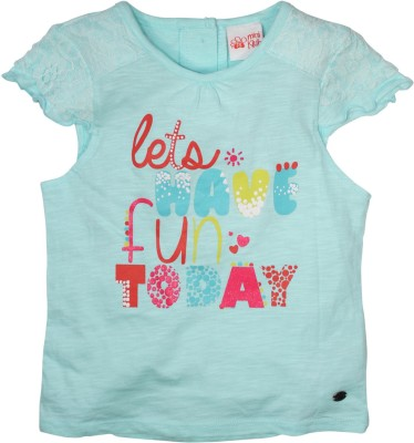 FS Mini Klub Casual Short Sleeve Printed Girl's Light Blue Top