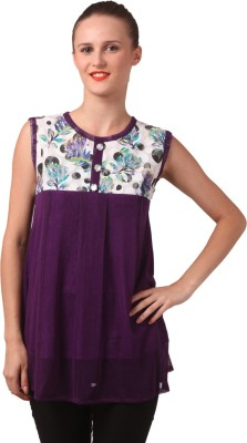 London Off Casual Sleeveless Floral Print Women's Purple Top
