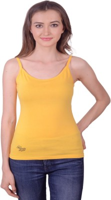 Lee Marc Casual Noodle strap Solid Women's Yellow Top