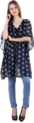 Selfiwear Casual Short Sleeve Printed Women's Black Top