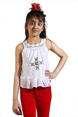 Maggie Formal Sleeveless Self Design Baby Girl's White Top