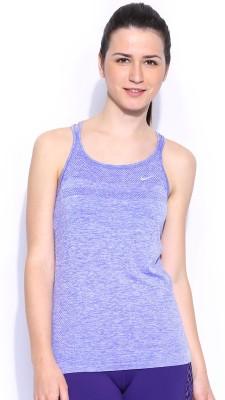 Nike Casual Sleeveless Solid Women's Purple Top
