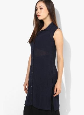 Only Casual Sleeveless Solid Women's Blue Top