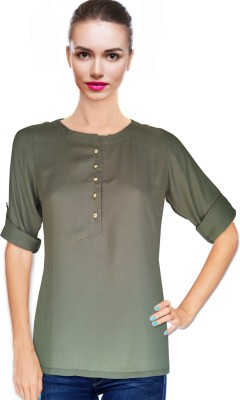 BeforeAfter Formal Roll-up Sleeve Solid Women's Green Top