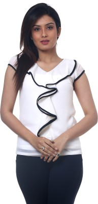 LYNDA Casual Cape Sleeve Solid Women's White Top