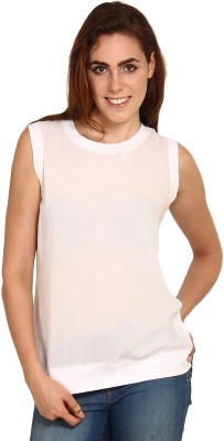 Miss Chick Party Sleeveless Solid Women's White Top