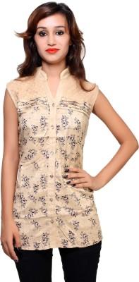Kiez Casual Sleeveless Printed Women's Brown Top