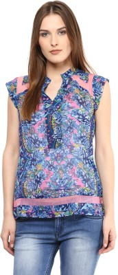 Shakumbhari Casual Sleeveless Printed Women's Blue Top