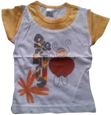 Mine Sparrow Casual Short Sleeve Printed Girl's White Top