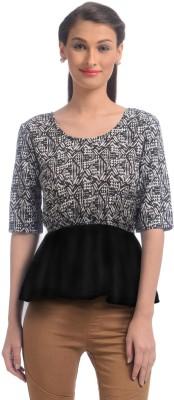 Uptownie Lite Party Short Sleeve Printed Women's Black Top at flipkart