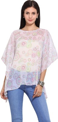 Trendy Divva Casual Butterfly Sleeve Printed Women's White Top