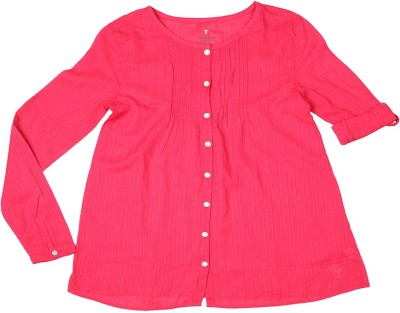 Allen Solly Casual Full Sleeve Solid Girl's Pink Top