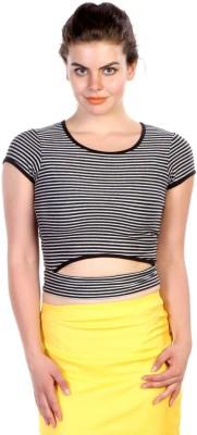 James Scot Lounge Wear Cape Sleeve Striped Women's Grey Top