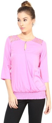 The Vanca Formal 3/4th Sleeve Self Design Women's Pink Top at flipkart