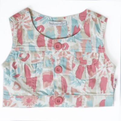 Milou Casual Sleeveless Self Design Girl's Multicolor Top