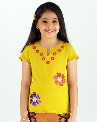 Ventra Party Short Sleeve Embroidered Girl's Yellow Top