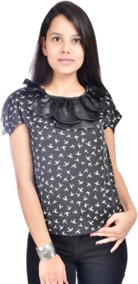 Palette Casual Short Sleeve Printed Women's Black Top