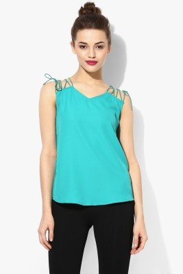 Veni Vidi Vici Casual, Festive, Party, Beach Wear Sleeveless Solid Women's Green, Gold Top