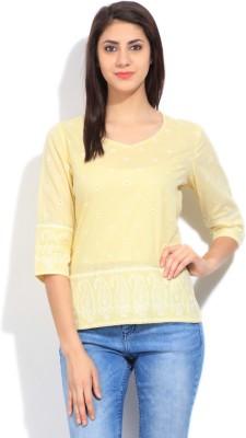 Imara Casual 3/4 Sleeve Printed Women's Yellow Top