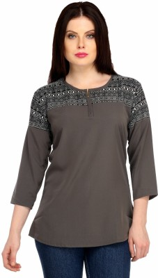 Snoby Casual 3/4 Sleeve Printed Women's Grey Top