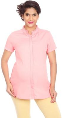 Kriti Western Maternity Casual Short Sleeve Solid Women's Pink Top