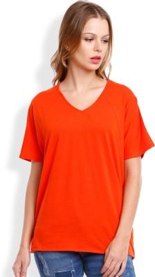 Tokyo Talkies Casual Short Sleeve Solid Women's Orange Top