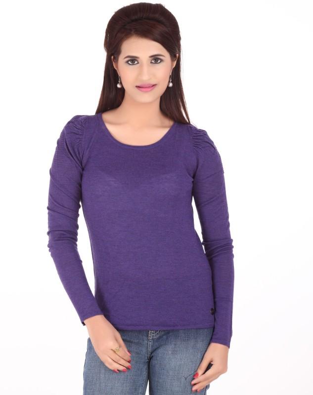 Calvin Klein Casual Full Sleeve Solid Women's Purple Top