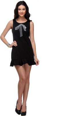 Fabgruh Women's Wrap Black Dress