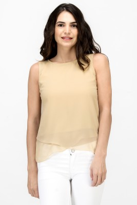 Satovira Party Sleeveless Solid Women's Beige Top