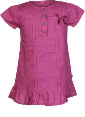 Nino Bambino Casual Puff Sleeve Solid Girl's Pink Top