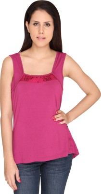 Bedazzle Casual Sleeveless Solid Women's Pink Top at flipkart