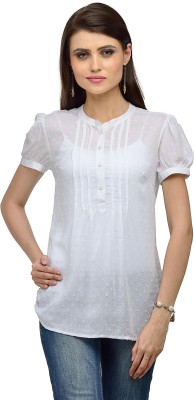 IR Acc Casual Short Sleeve Solid Women's White Top