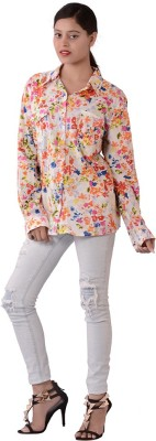 Fashnopolism Casual Full Sleeve Floral Print Womens White Top