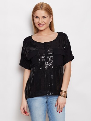 Young Threads Casual Short Sleeve Solid Women's Black Top
