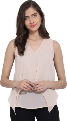 Ama Bella Casual Sleeveless Solid Women's Pink Top