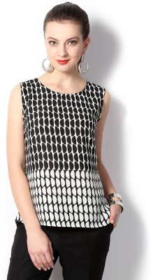Van Heusen Casual Sleeveless Geometric Print Women's Black Top
