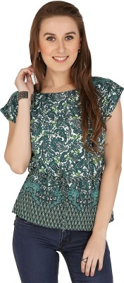 The Apparel Quotient Party, Casual Cap sleeve Floral Print Women's Multicolor Top