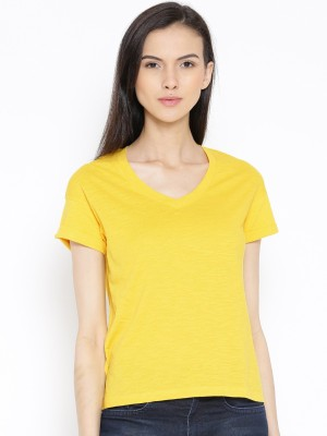 Rat Trap Casual Short Sleeve Solid Women's Yellow Top