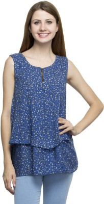 London Off Casual Sleeveless Printed Women's Blue Top