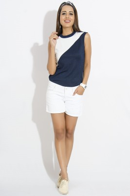 IDK Casual Sleeveless Solid Women's Blue, White Top