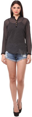 Eyelet Casual, Party Full Sleeve Polka Print Women's Black Top