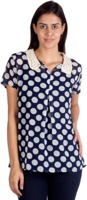 Ebry Casual Short Sleeve Polka Print Women's Blue, White Top