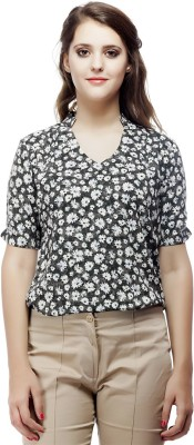 ORIANNE Casual Short Sleeve Floral Print Women's White, Black Top