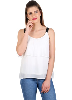 eyelet Casual, Party, Lounge Wear Noodle strap Solid Women's White Top