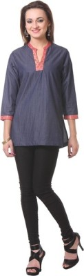 Oghaindia Casual 3/4 Sleeve Woven Women's Blue Top