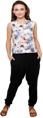 AT BY TARUNA Casual Sleeveless Floral Print Women's Blue Top