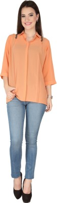 SOIE Casual Short Sleeve Solid Women's Pink Top
