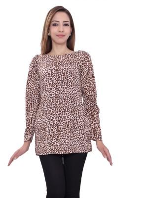 GMI Casual 3/4 Sleeve Animal Print Women's Brown Top
