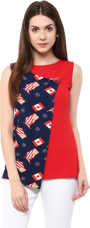 Moderno Casual Sleeveless Printed Women's Red, Blue Top